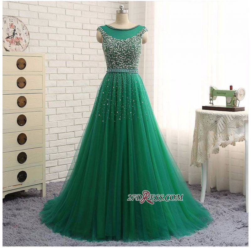 Elegant Scoop Sleeveless 2020 Evening Dresses Long Green Party Gowns With Crystals