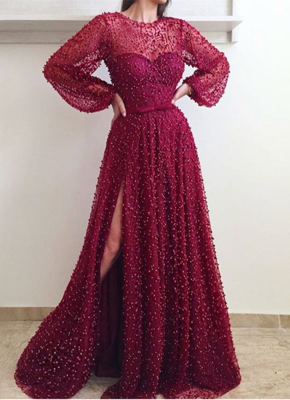 Gorgeous Long Sleeve 2020 Evening Gown | Beadings Prom Dress With Slit BC0258