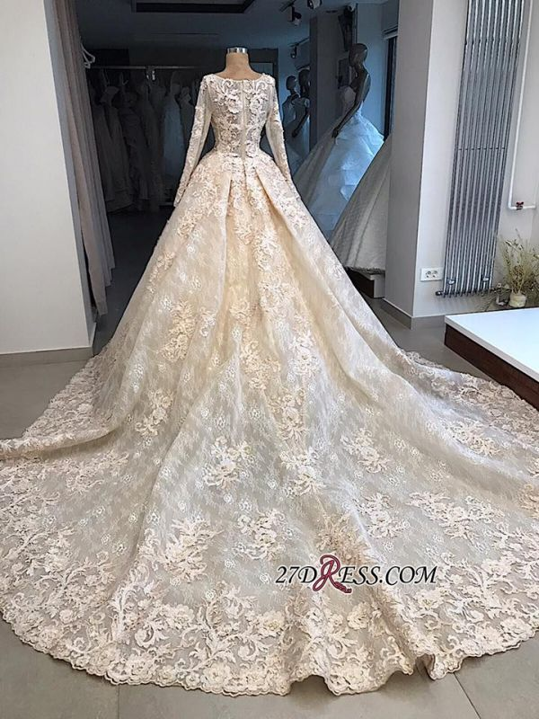 Sleeves Gown Ball Appliques luxurious Long Scoop Wedding Dress