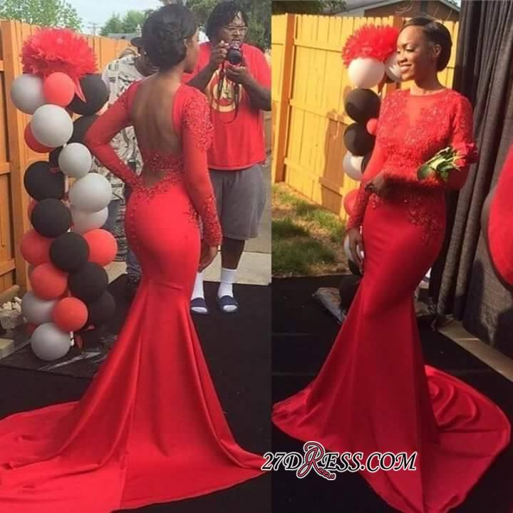 Backless Jewel Sleeves Lace Long Mermaid Red Prom Dress BK0