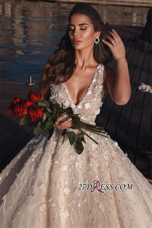 Glamorous V-Neck Ball Gown Wedding Dresses | 2020 Sleeveless Appliques Bridal Gowns