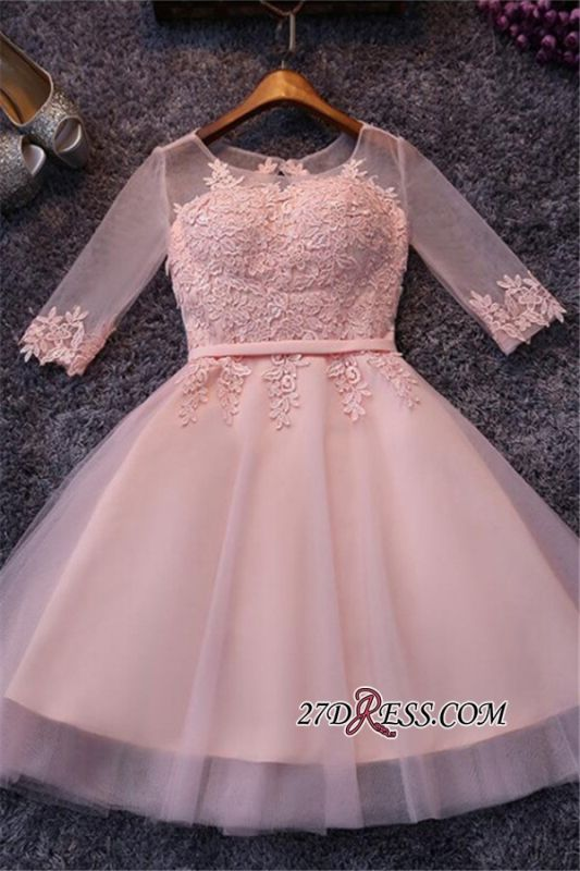 Appliques Short Half-Sleeves Tulle Pink Homecoming Dresses