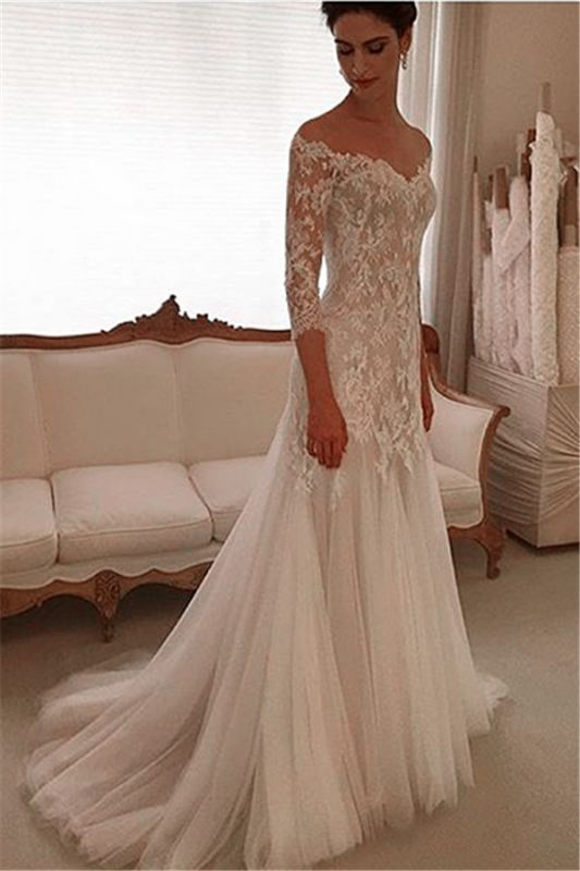 Glamorous Off-the-shoulder 3/4 Length Sleeve 2020 Wedding Dress Lace Tulle