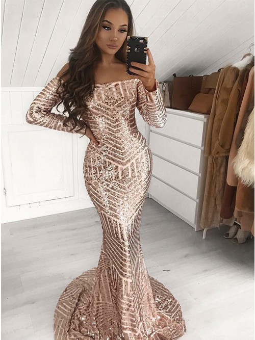 Gorgeous Long Sleeve Sequins Prom Dress | 2020 Mermaid Long Evening Gowns