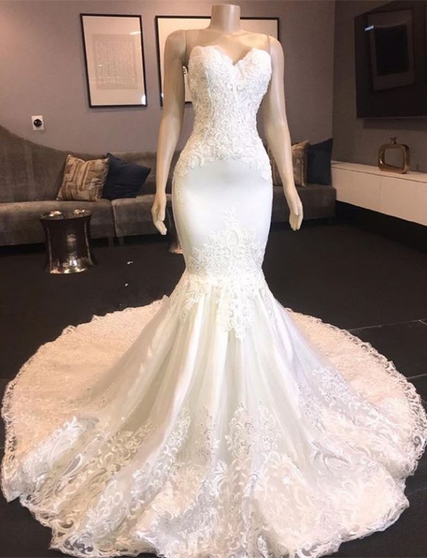 Chic Sweetheart Mermaid Wedding Dresses | 2020 Long Lace Detachable Bridal Gowns