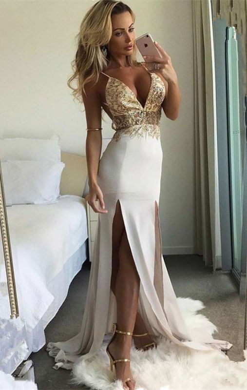 Sexy V-Neck Sleeveless Long Prom Dresses | 2020 Lace Slit Evening Gowns