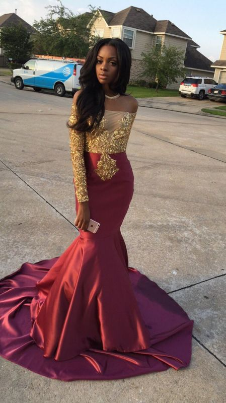Gorgeous Long Sleeve Burgundy Prom Dress 2020 With Golden Appliques BA4948 BK0