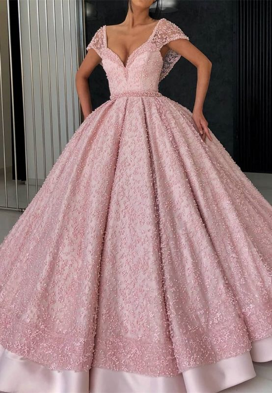 Glamorous Cap Sleeve Pink Evening Dress | 2020 Ball Gown Beadings Prom Gown