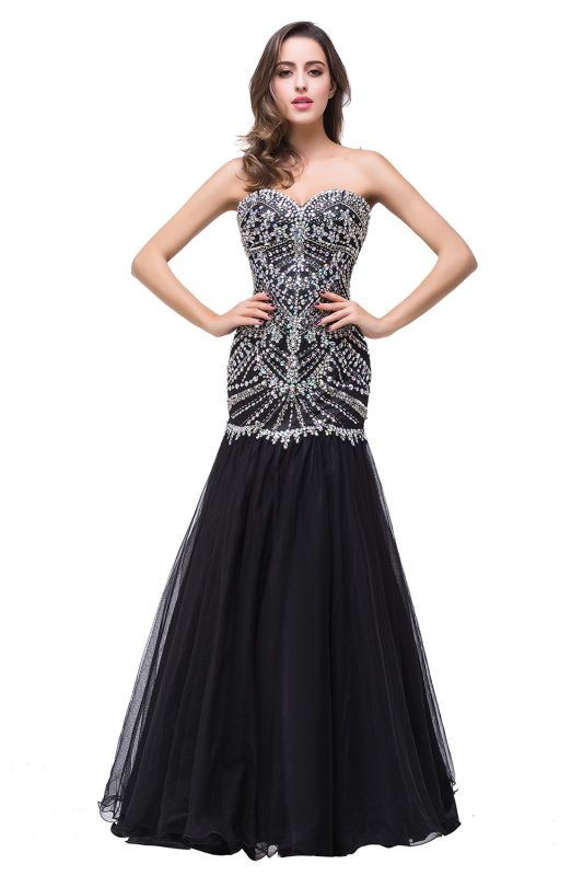 Glamorous Crystals Black Mermaid 2020 Prom Dress Sweetheart Sleeveless Zipper
