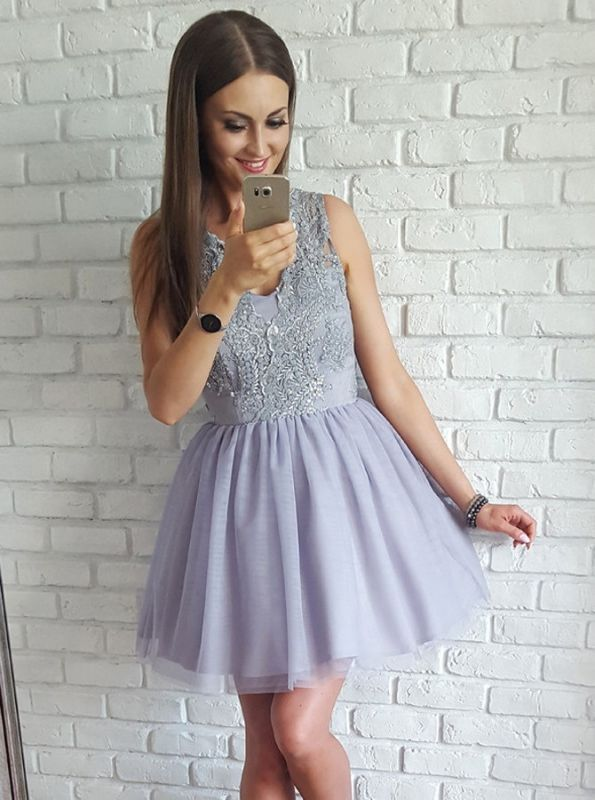 Delicate Straps Lace Appliques Short Homecoming Dress | Mini Party Dress
