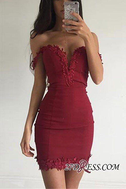Burgundy Short Sexy Sheath Appliques Off-the-shoulder Homecoming Dress BA3581