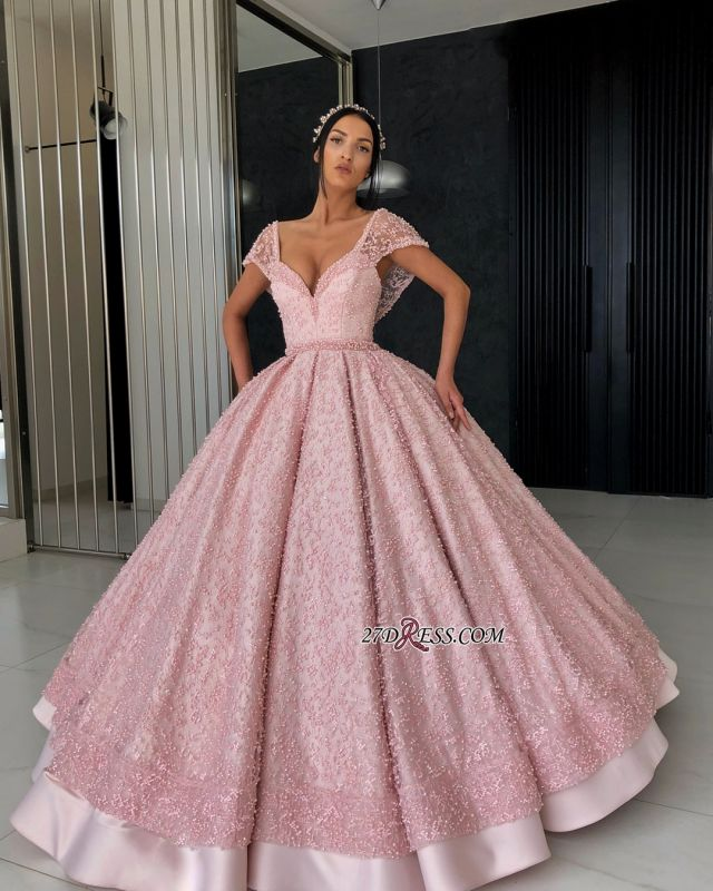 Luxury Pink Ball Gown Prom Dresses | V-Neck Cap Sleeves Beading Evening Dresses