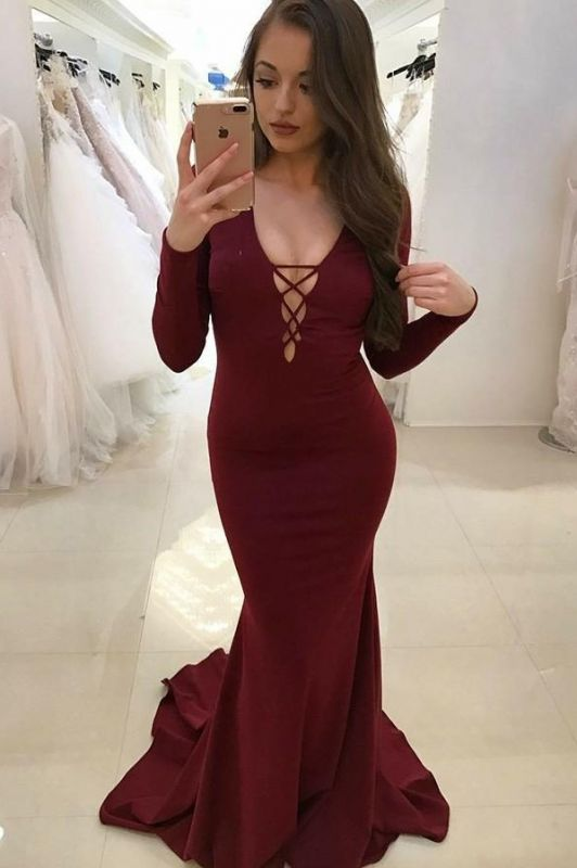 2020 Beautiful Burgundy V-Neck Long Sleeves Mermaid Prom Gown | Classical Backless Long Evening Dress On Sale