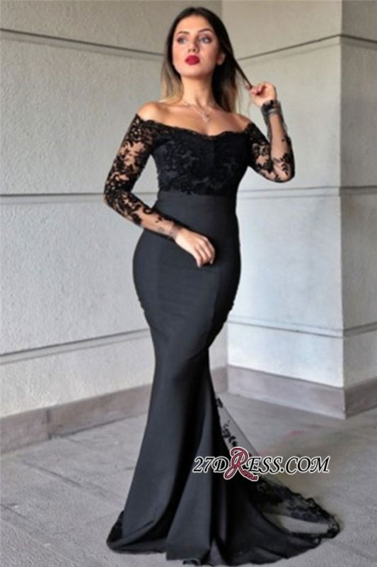 Off-the-shoulder Applique Mermaid Sexy Long-sleeve Prom Dresses