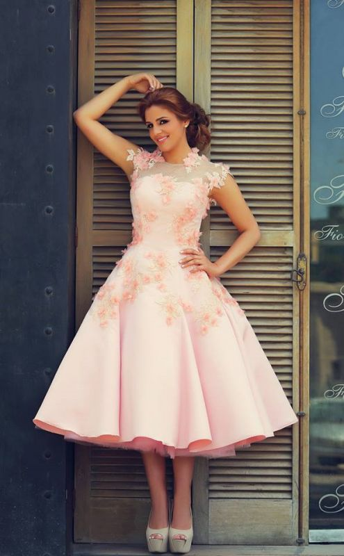 Lovely High Neck Cap Sleeve Prom Dress Pink With Flowers