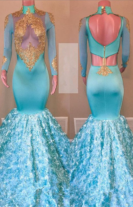 Glamorous Long Sleeve Prom Dresses | 2020 Mermaid Lace Evening Gowns With Flowers