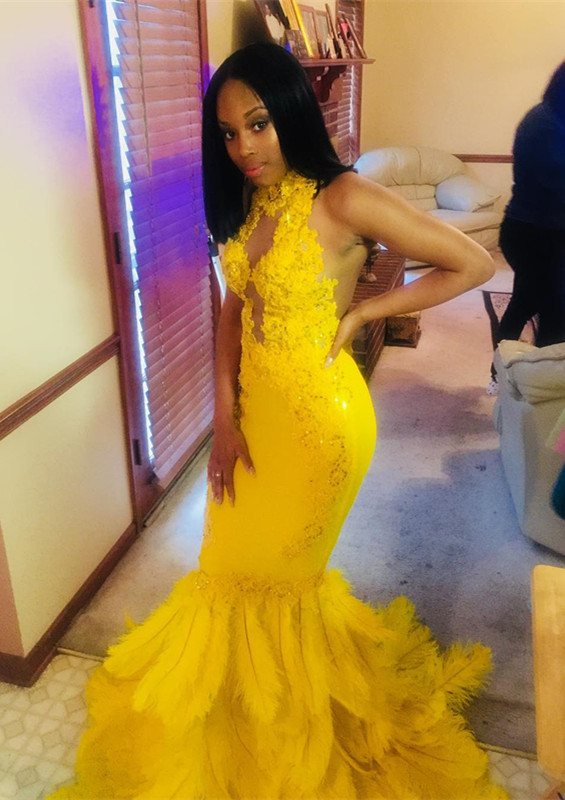 Gorgeous Yellow High-Neck Mermaid Prom Dress | 2020 Lace Sequins Evening Gowns With Feather BK0