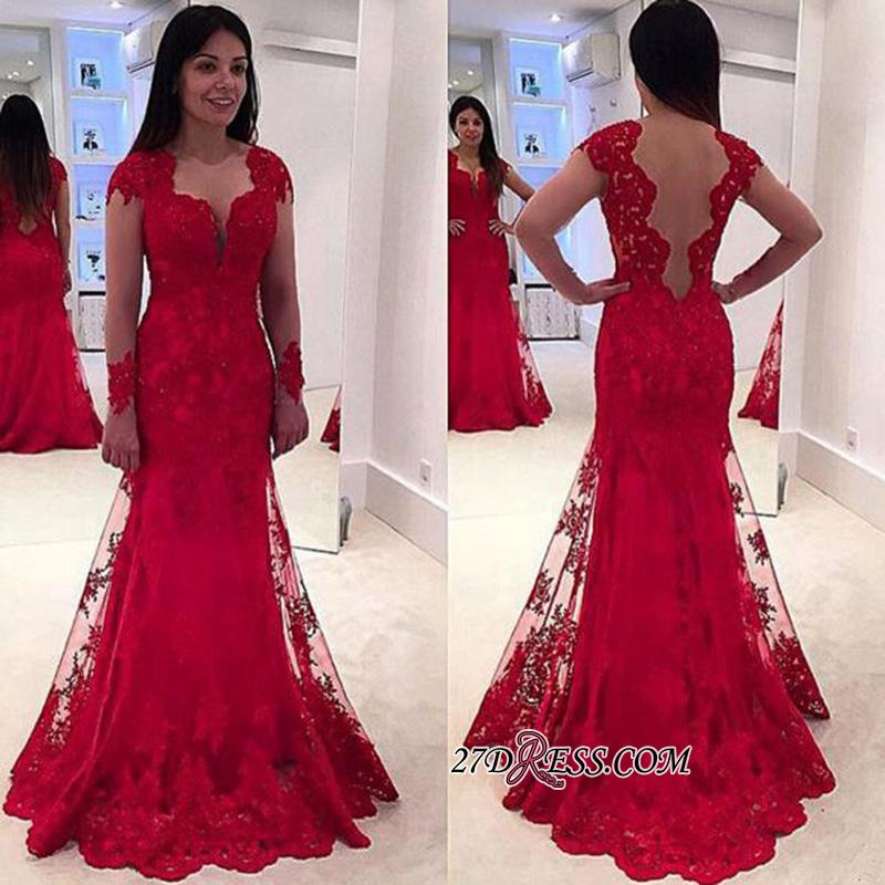 Lace A-line Sweep-Train Modern Long-Sleeve Red Prom Dress BA4006