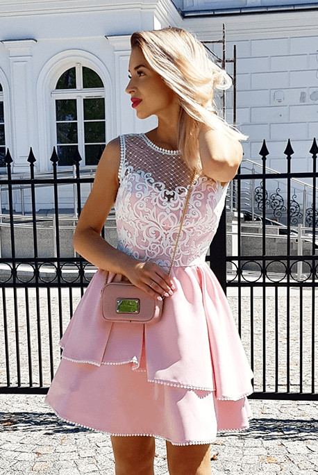 Fashion Lace Pink Beads Ruffled Homecoming Dress | 2020 Short Formal Gown