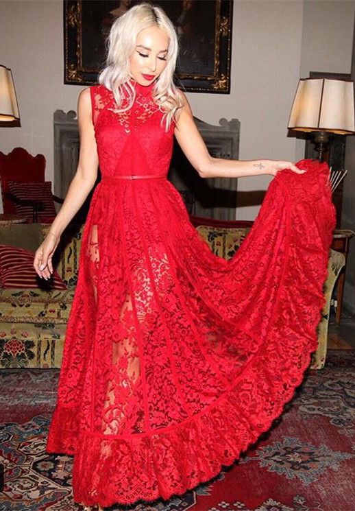Sexy High Neck Sleeveless Red Evening Dress Lace