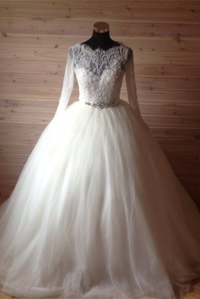 Elegant Tulle Lace Crystals Wedding Dress 2020 Ball Gown Long Sleeve