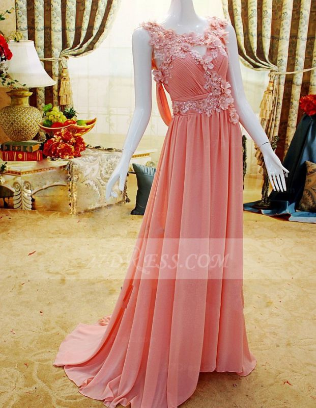 Flower Prom Dresses Evening Gowns with Pink Pearls Appliques Chiffon Lace Sleeveless Sweep Train A-line