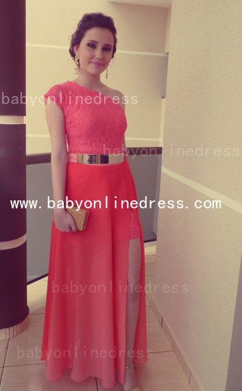 New Arrival Sexy Lace Long Vestidos Prom Dresses Chiffon One Shoulder Formal Evening Gowns