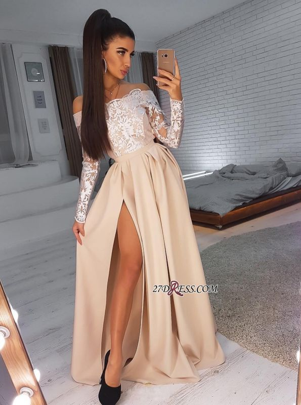 Side-Slit Elegant Long-Sleeves Off-The-Shoulder A-Line Prom Dresses