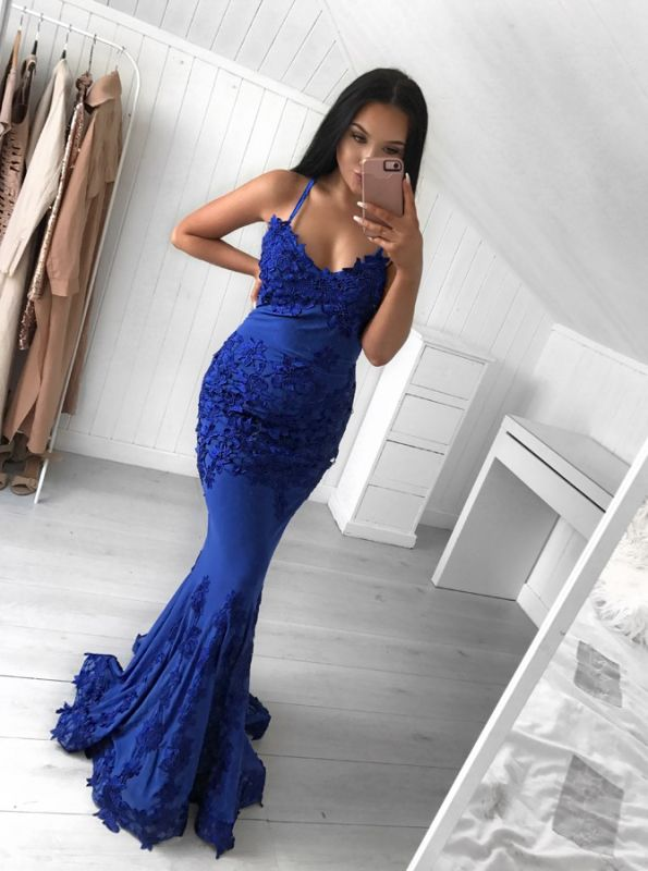 Elegant Dark Blue Spaghetti-Strap Prom Dress on Sale | Mermaid Evening Dress With Lace Appliques