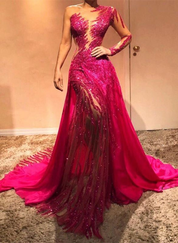 Glamorous Long Sleeve Sequins Prom Dresses | 2020 Long Sleeve Fuchsia Evening Gowns
