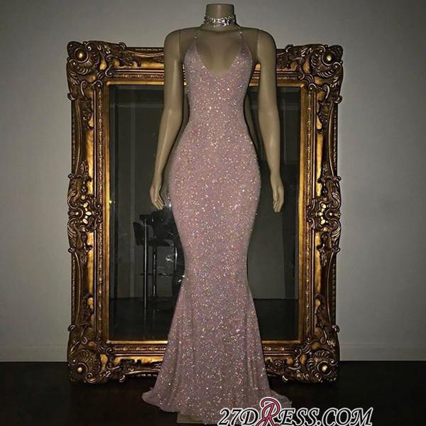 Mermaid Stunning Spaghetti-strap Sequined Sleeveless Long Prom Dress SP0311