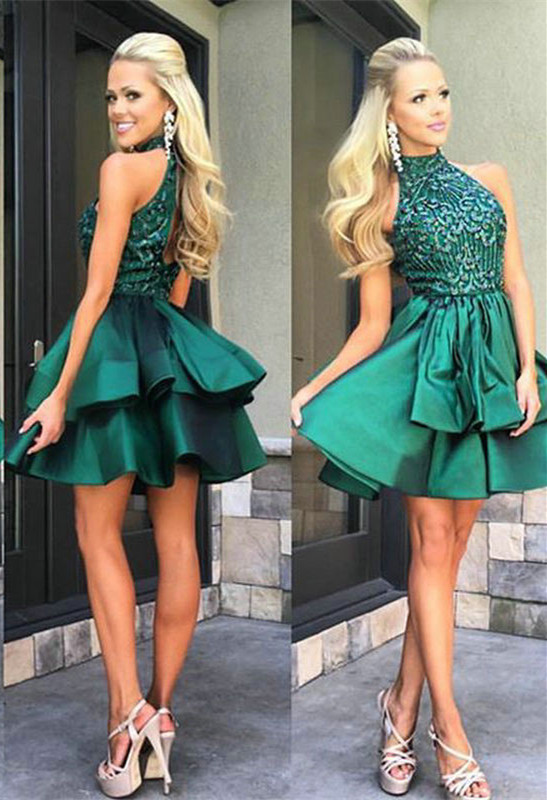 Gorgeous Green Sleeveless Short Prom Dress 2020 Beadings Mini Homecoming Gown HT102