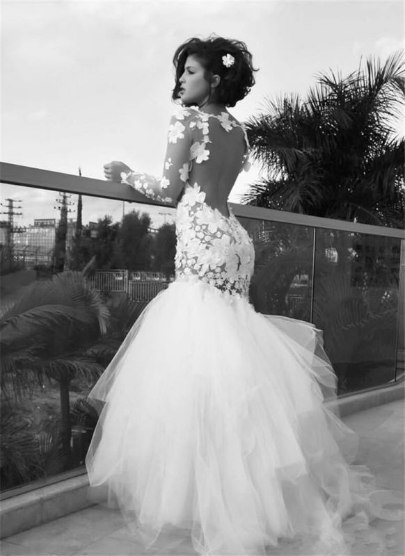 Delicate Long Sleeve Tulle Mermaid Wedding Dress With Appliques
