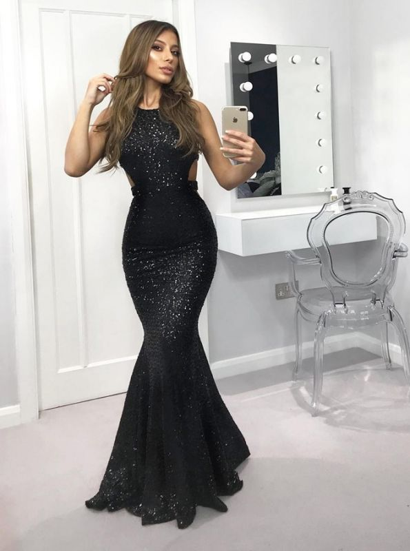 Sexy Black Sequins Evening Dress on Sale | Crew Mermaid Sleeveless 2020 Prom Gowns