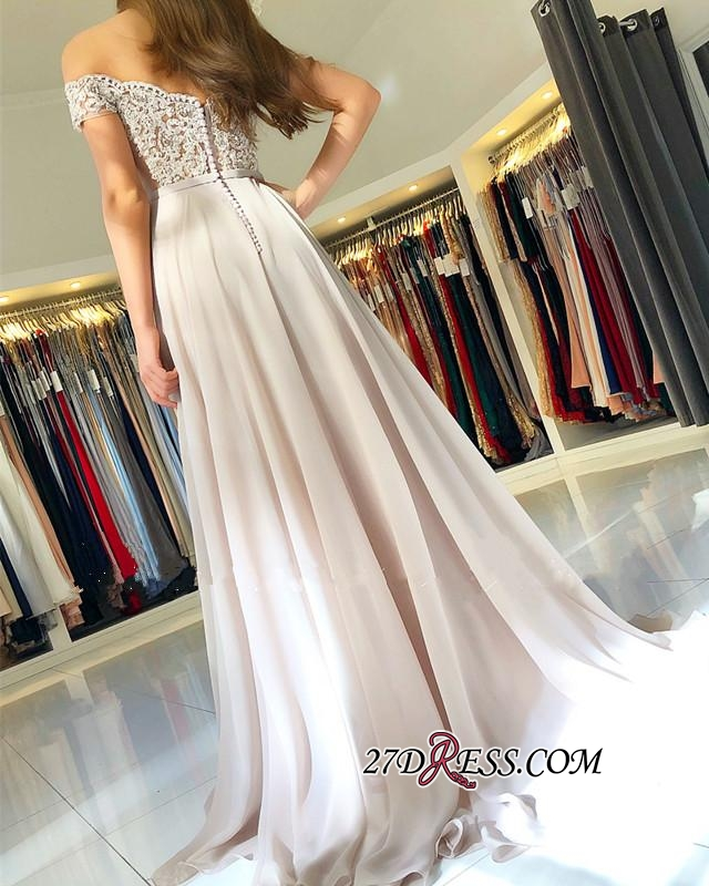 Elegant Chiffon Long Prom Dress | 2020 Off-the-Shoulder Lace-Appliques Evening Dress