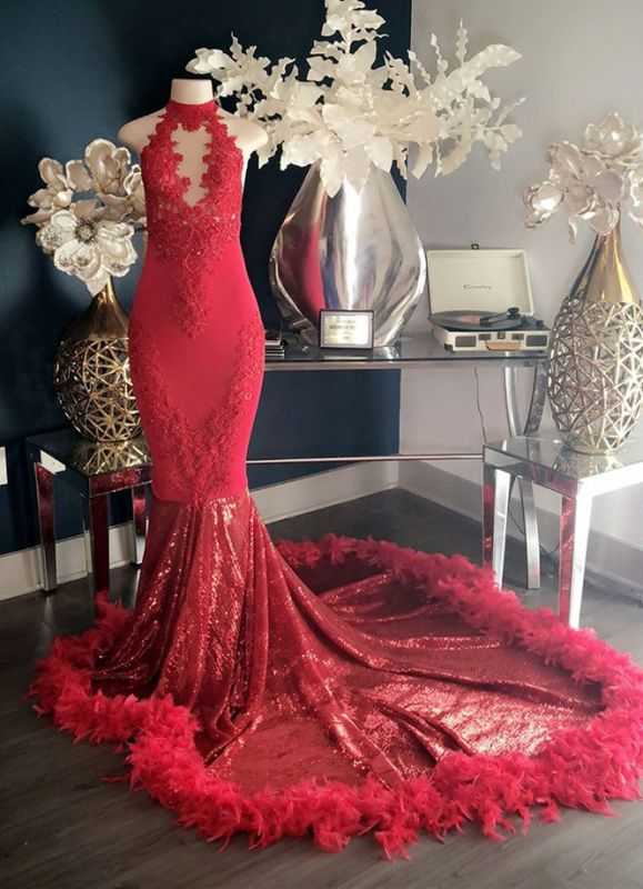 Glamorous Red High-Neck Lace Prom Dress | 2020 Mermaid Feather Evening Gowns