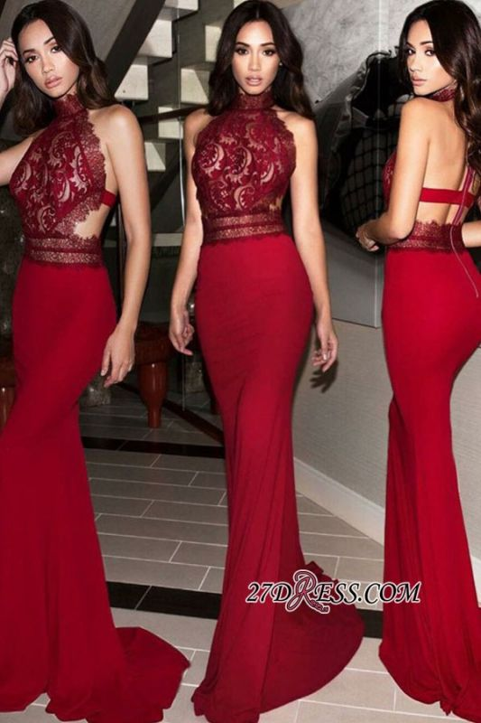 Halter Charming Backless Mermaid Appliques Evening Dresses BC2263
