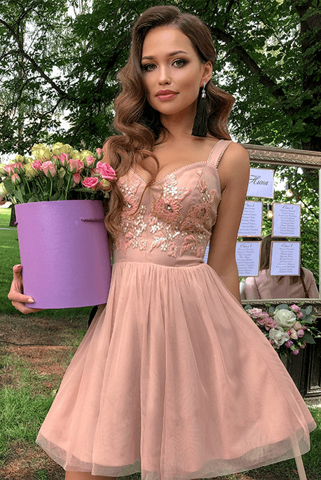 Delicate Crystals Lace Straps Homecoming Dress   A-line Short Formal Dress