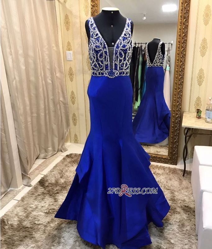 Royal blue evening dress, beadings prom dress online