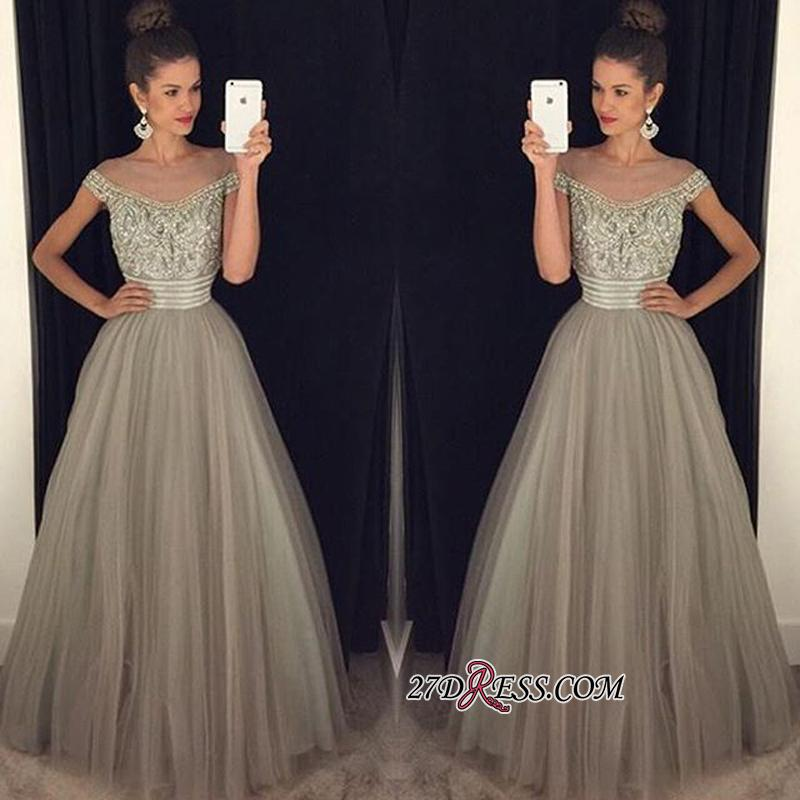 Beadings Tulle Long A-Line Glamorous Crystal Prom Dress
