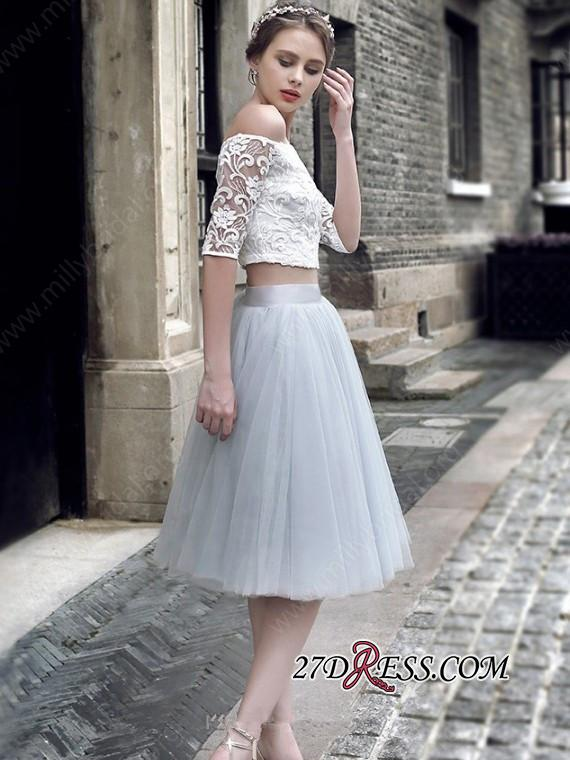 Off-the-Shoulder Sexy Knee-Length Tulle Lace Homecoming Dress