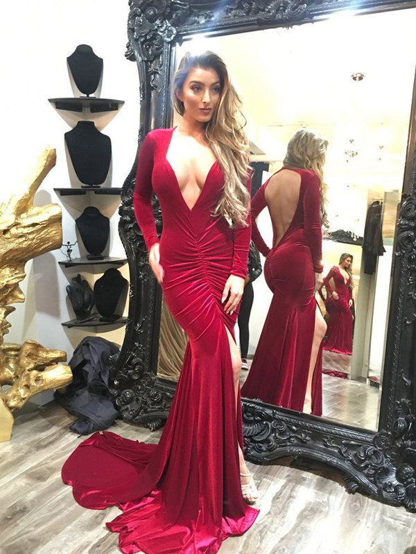 Sexy Long Sleeve V-neck Prom Dress Open Back Party Dress With SPlit BC0011