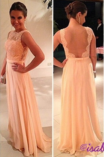 fashion long Vestido De Dama wedding party dresses 2020 peach nude back chiffon lace prom gowns