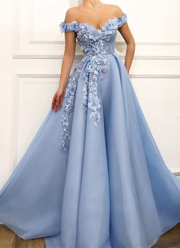 Gorgeous Off-the-Shoulder Blue Prom Dresses | 2020 Flowers Long Evening Gowns