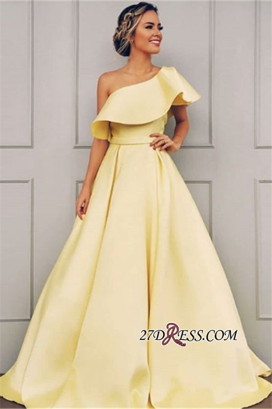 Petal One-Shoulder Gorgeous Ribbon Sleeves Prom Gowns