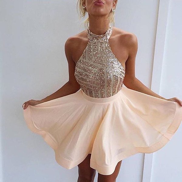 Stunning Sequins Halter Homecoming Dress 2020 A-Line Party Gowns BA3349