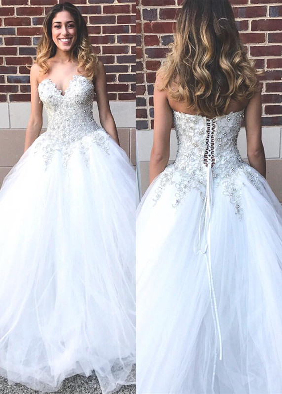 Glamorous Sweetheart Beadings Princess 2020 Wedding Dress Tulle Lace-up Bridal Gown On Sale