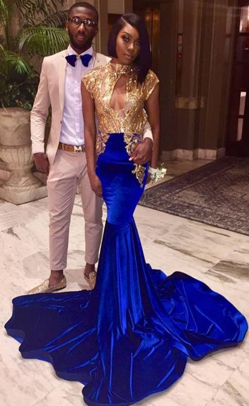 Chic High Neck Sleeveless Gold Sequin Evening Gown | Mermaid Cap Sleeve Prom Dress On Sale