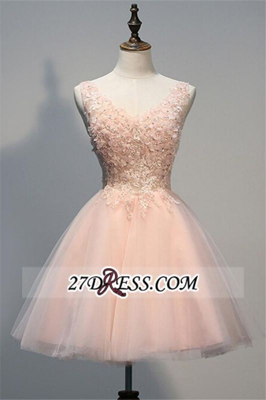 Appliques V-Neck Short Crystal A-line Sleeveless Tulle Homecoming Dress