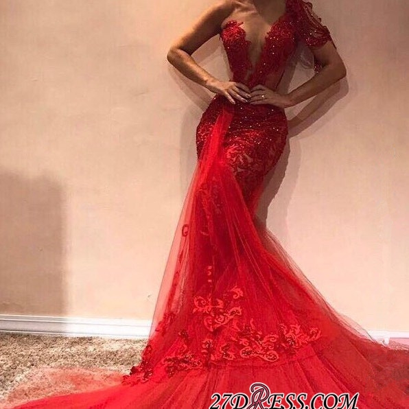 Glamorous One-shoulder Appliques Mermaid Party Dresses | Sexy Red Sequins Tulle Asymmetrical Prom Dresses BC1913